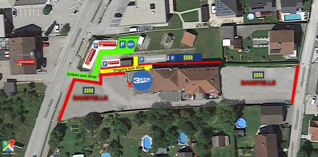 Baustellenplan, Zufahrt Shop